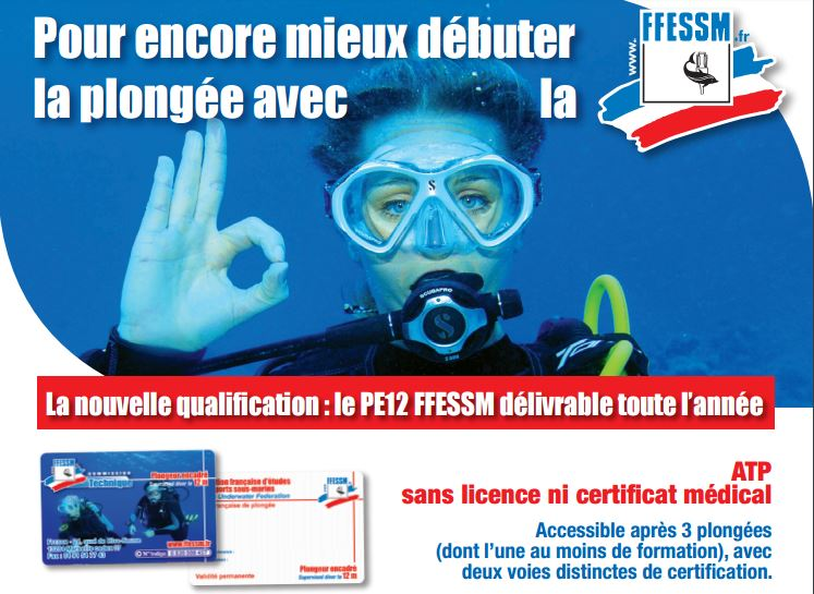 Nouvelle qualification PE12 plongée sous marine ffessm en stage de plongée